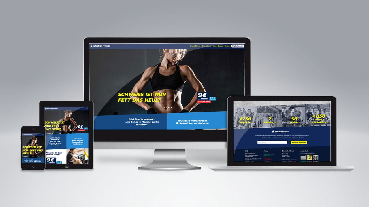 Selection Fitness Website werbeagentur aus Aachen